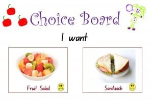 autism language food choice board